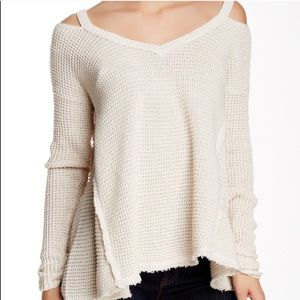 Free People Beige Moonshine V Cold Shoulder Waffle